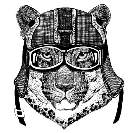 Jaguar, leopard Animal wearing motorycle helmet. Image for kindergarten children clothing, kids. T-shirt, tattoo, emblem, badge, logo, patch Standard-Bild - 99846107