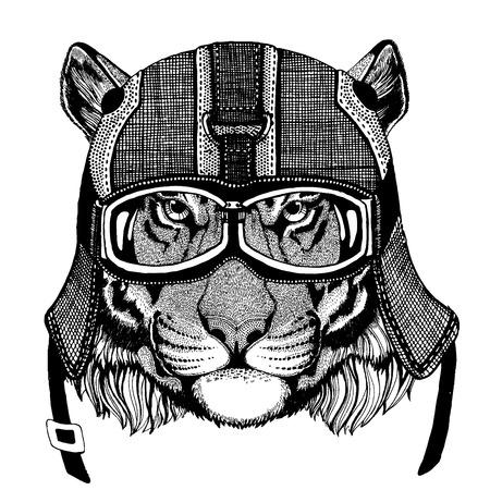 Animal con casco motorycle. Imagen para ropa de niños de jardín de infantes, niños. Camiseta, tatuaje, emblema, insignia, parches de logotipos