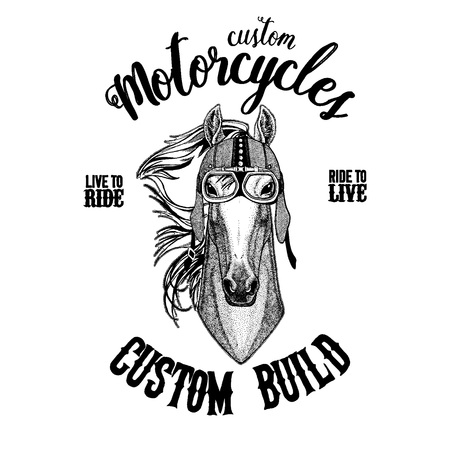 Horse, hoss, knight, steed, courser Biker, motorcycle animal. Hand drawn image for tattoo, emblem, badge, logo, patch, t-shirt Foto de archivo - 99877669