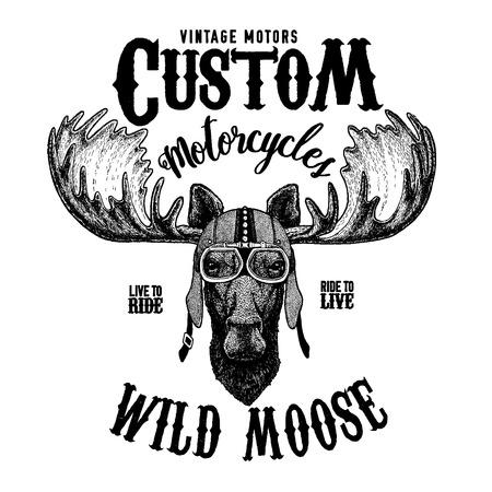 ムース、エルクバイカー、オートバイの動物。入れ墨、エンブレム、バッジ、ロゴ、パッチ、Tシャツのための手描き画像