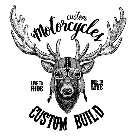 Deer Biker, motorcycle animal. Hand drawn image for tattoo, emblem, badge, logo, patch, t-shirt