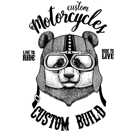 Panda, bamboo bear. Biker, motorcycle animal. Hand drawn image for tattoo, emblem, badge, logo, patch, t-shirt