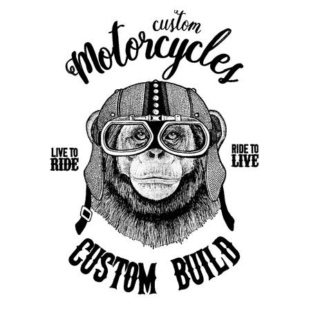 Gezeichnete Illustration des Schimpansen-Affen Hand für Tätowierung, Emblem, Ausweis, Logo, Flecken, T-Shirt