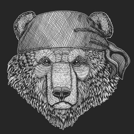 Brown bear Russian bear Hand drawn image for tattoo, t-shirt, emblem, badge, logo, patch
