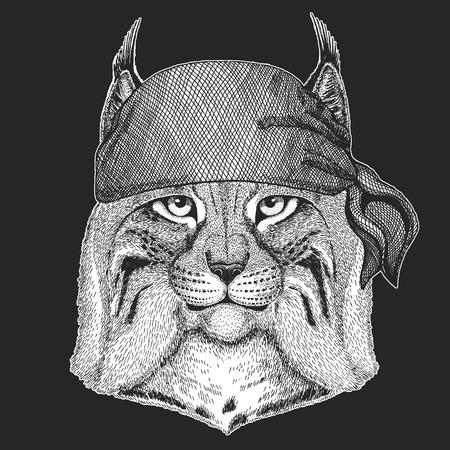 入れ墨、エンブレム、バッジ、ロゴ、パッチのための野生の猫リンクスボブキャットハンド描き手画像  イラスト・ベクター素材