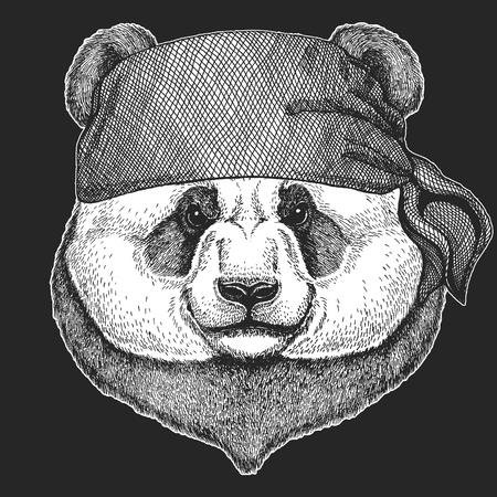 Panda bear Cool pirate, seaman, seawolf, sailor, biker animal for tattoo, t-shirt, emblem, badge, logo, patch. Image with motorcycle bandanna Illustration