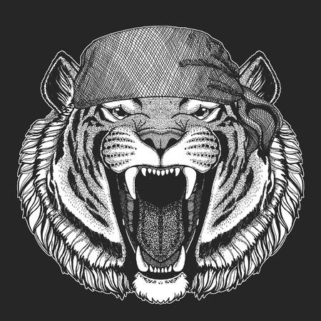 Wild tiger Hand drawn image for tattoo, emblem, badge, logo, patch, t-shirt
