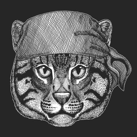 Wild cat Fishing cat Cool pirate, seaman, seawolf, sailor, biker animal for tattoo, t-shirt, emblem, badge, logo, patch. Image with motorcycle bandana
