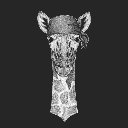Camelopard, giraffe Cool pirate, seaman, seawolf, sailor, biker animal for tattoo, t-shirt, emblem, badge, logo, patch. Image with motorcycle bandana Illustration