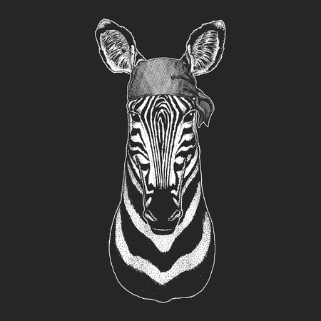 Zebra Horse Cool pirate, seaman, seawolf, sailor, biker animal for tattoo, t-shirt, emblem, badge, logo, patch. Image with motorcycle bandana Illustration