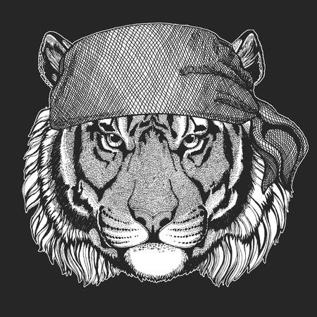 Wild tiger Cool pirate, seaman, seawolf, sailor, biker animal for tattoo, t-shirt, emblem, badge, logo, patch. Image with motorcycle bandanna