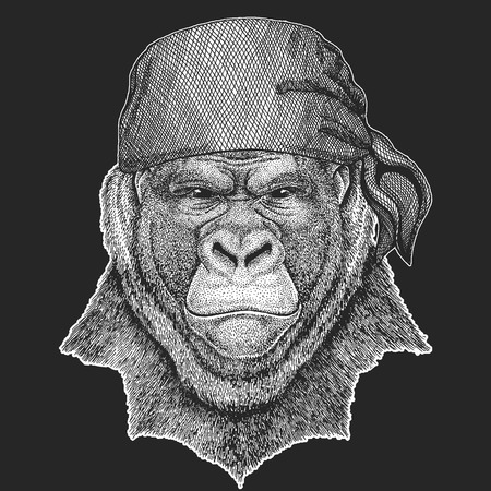 Gorilla pirate logo on black background.