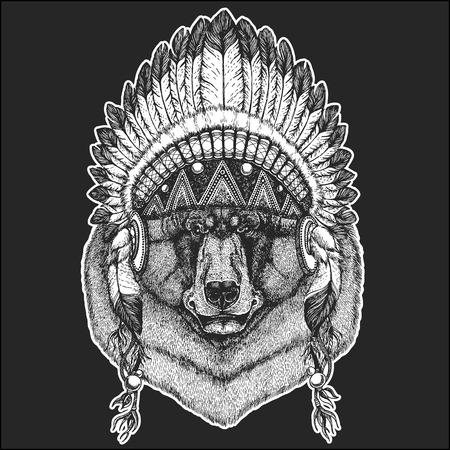 Black bear Hand drawn illustration for tattoo, t-shirt, emblem, badge, logo, patch Иллюстрация