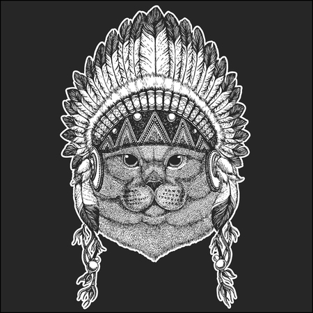 British noble cat Male Cool animal wearing native american Indian headdress with feathers Boho chic style. Hand drawn image for tattoo, emblem, badge, icon, patch.