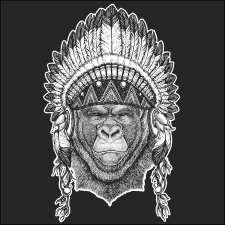 Gorilla, monkey, ape Frightful animal Cool animal wearing native american Indian headdress with feathers Boho chic style. Hand drawn image for tattoo, emblem, badge, icon, patch.