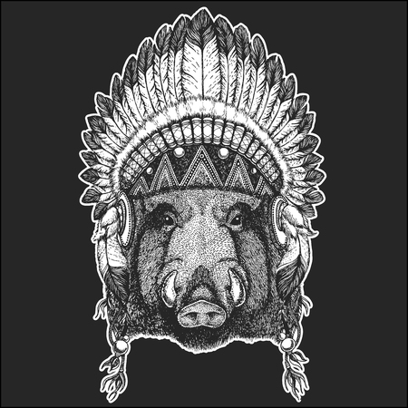 Aper, boar, hog, wild boar Cool animal wearing native american Indian headdress with feathers Boho chic style. Hand drawn image for tattoo, emblem, badge, icon, patch.