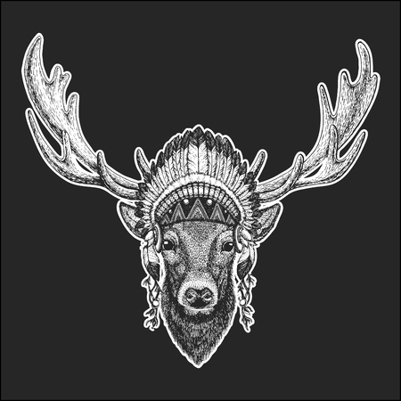 Deer Cool animal wearing native american Indian headdress with feathers. Boho chic style. Hand drawn image for tattoo, emblem, badge, icon, patch. Illustration