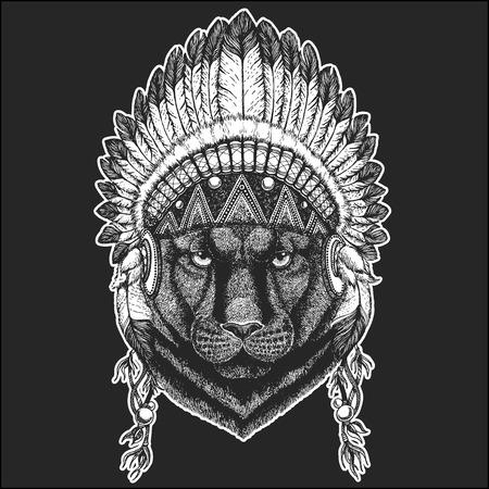 Panther Puma Cougar Wild cat Hand drawn image for tattoo, emblem, badge, logo, patch, t-shirt