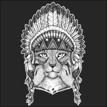 Wild cat Lynx Bobcat Trot Cool animal wearing native american Indian headdress with feathers Boho chic style. Hand drawn image for tattoo, emblem, badge, icon, patch.