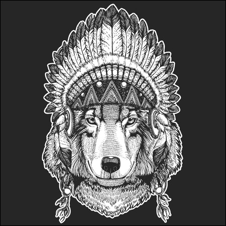 Wolf Dog Cool animal wearing native american Indian headdress with feathers Boho chic style. Hand drawn image for tattoo, emblem, badge, icon, patch. Illustration
