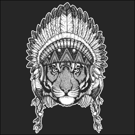 Wild tiger Cool animal wearing native american Indian headdress with feathers Boho chic style. Hand drawn image for tattoo, emblem, badge, icon, patch.