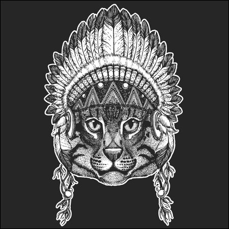 Wild cat Fishing cat Cool animal wearing native american Indian headdress with feathers Boho chic style. Hand drawn image for tattoo, emblem, badge, icon, patch.