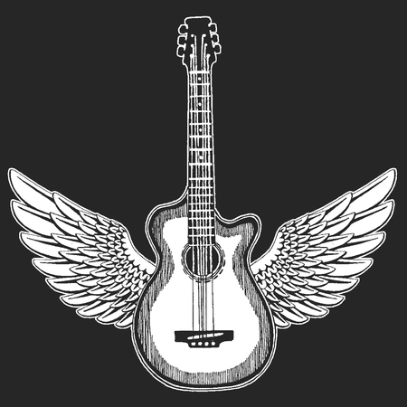 Cool guitar. Rock emblem for music festival.