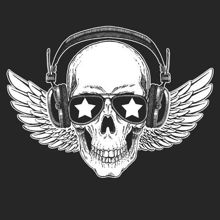 Crâne de rock star cool portant des lunettes disco. Banque d'images - 99990678