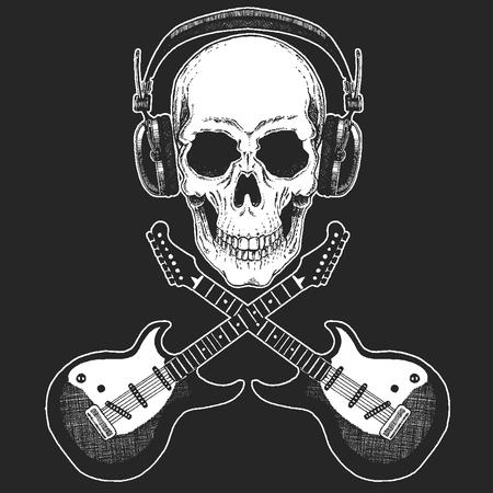 Festival de musique rock. Impression cool pour affiche, bannière, t-shirt. Crâne portant des écouteurs avec guitare électrique. Fête du heavy metal. Star du rock'n'roll Vecteurs