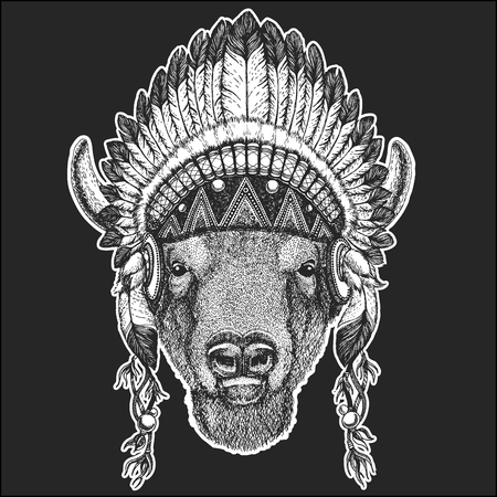Buffalo, bison,ox, bull Cool animal wearing native american indian headdress with feathers