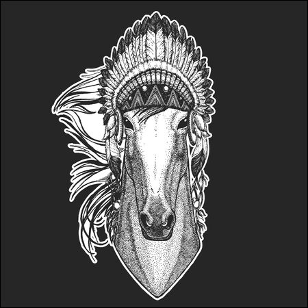 Horse, hoss, knight, steed, courser Cool animal wearing native american indian headdress with feathers Boho chic style Hand drawn image for tattoo, emblem, badge, logo, patch