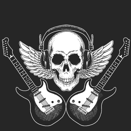Rock music festival. Cool print for poster, banner, t-shirt. Skull wearing headphones with electric guitar. Heavy metal party. Rock-n-roll star Иллюстрация
