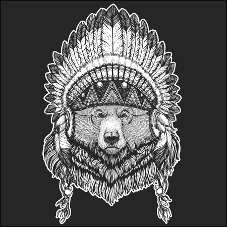 Big wild grizzly bear Cool animal wearing native american indian headdress with feathers Boho chic style Hand drawn image for tattoo, emblem, badge, logo, patch Illustration