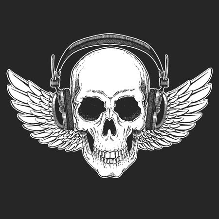Rock music festival. Cool print for poster, banner, t-shirt. Skull wearing headphones with electric guitar. Heavy metal party. Rock-n-roll star Illusztráció