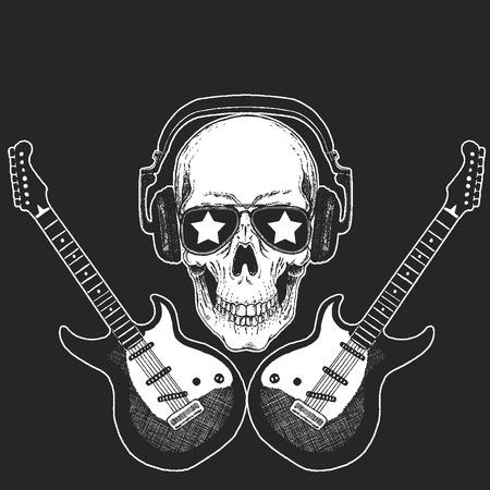 Rock music festival. Skull with guitars. Cool print for poster, banner, t-shirt. Stock Photo