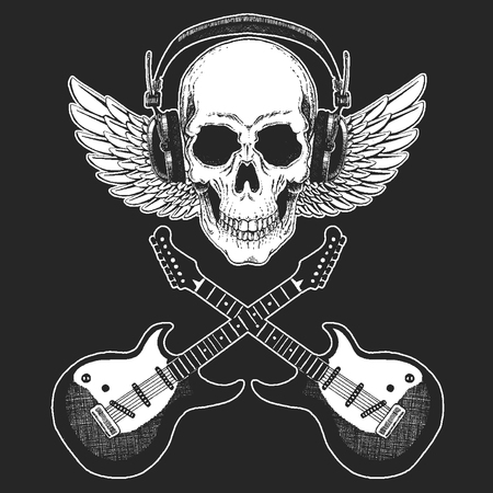 Rock music festival. Cool print for poster, banner, t-shirt. Skull wearing headphones with electric guitar. Heavy metal party. Rock-n-roll star Stock fotó