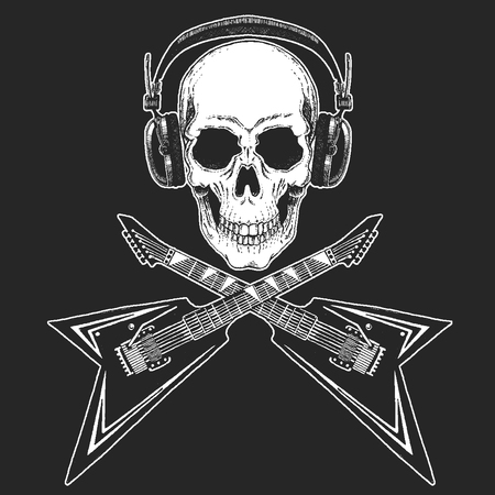 Rock music festival. Cool print for poster, banner, t-shirt. Skull wearing headphones with electric guitar. Heavy metal party. Rock-n-roll star Stock Photo