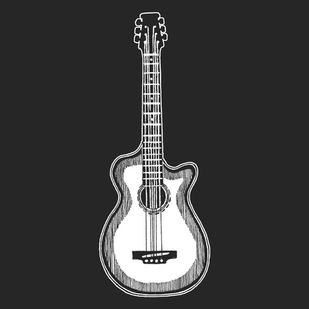 Black and white electric guitar set on white background. Isolated stylish art. Modern grunge and rock style. Noir style. Stock Vector - 99974580
