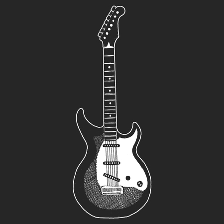 Black and white electric guitar set on white background. Isolated stylish art. Modern grunge and rock style. Noir style. Stock Vector - 99974584