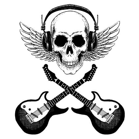 Cool vector rock music skull with headphones
