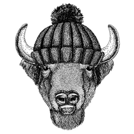Buffalo, bison,ox, bull Hand drawn image for tattoo, emblem, badge logo patch Illustration
