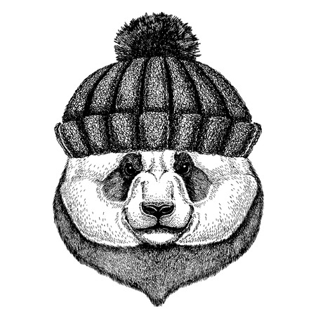 Panda animal wearing knitted winter hat. Warm headdress beanie Christmas cap for tattoo, t-shirt, emblem, badge, icon and patch. Illustration