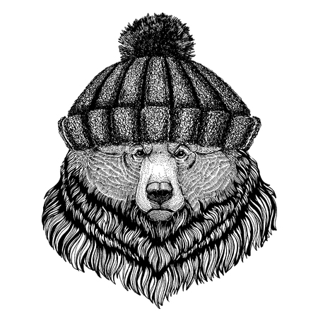 Grizzly bear Big wild bear Cool animal wearing knitted winter hat. Warm headdress beanie Christmas cap for tattoo, t-shirt, emblem, badge, logo, patch Illustration