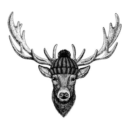Deer Cool animal wearing knitted winter hat. Warm headdress beanie Christmas cap for tattoo, t-shirt, emblem, badge, logo, patch Illustration