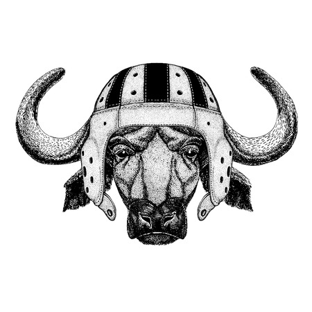 Cool animal wearing rugby helmet hand drawn illustration for tattoo or emblem. Illustration