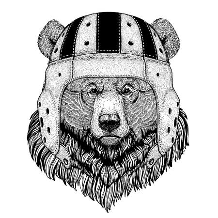 Bear Cool animal wearing rugby helmet Extreme sport game