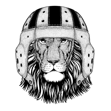Cool wild lion animal wearing rugby helmet hand drawn illustration for tattoo or emblem design.