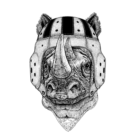 Cool wild rhinoceros animal wearing rugby helmet hand drawn illustration for tattoo or emblem design.