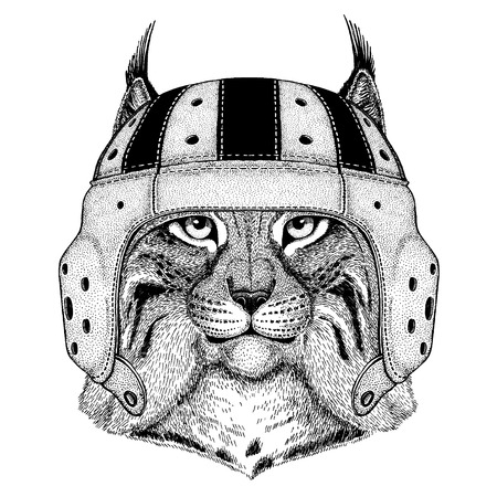 Cool animal wearing rugby helmet Extreme sport game