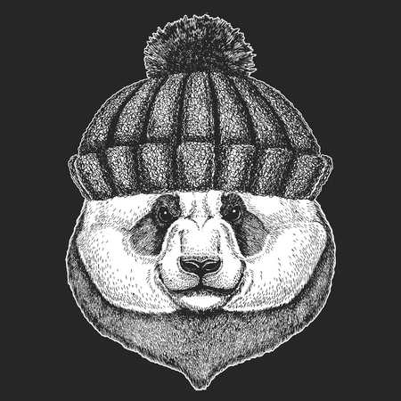 Cute animal wearing knitted winter hat Panda bear Hand drawn image for tattoo, emblem, badge, logo, patch, t-shirt Illusztráció
